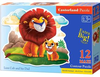 Puzzle Contour maxi 12 dílků- Lev a lvíče