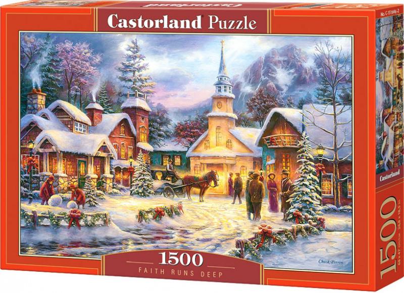 Puzzle Castorland 1500 dílků - Vánoční pohoda ve vísce