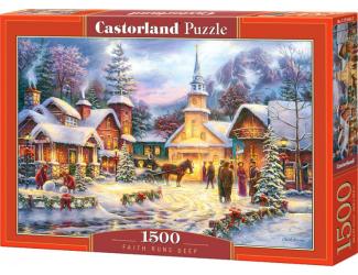 Puzzle 1500 dílků- Vánoční pohoda ve vísce