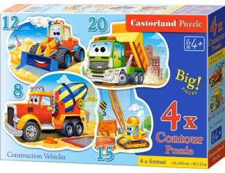 Puzzle sada 4v1- Stavební stroje - 8,12,15,20 dílků