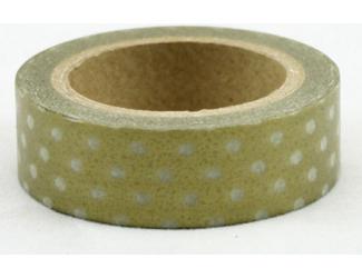 Dekorační lepicí páska - WASHI páska-1ks bílé puntíky ve zlaté