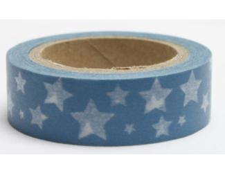 Dekorační lepicí páska - WASHI páska-1ks bílé hvězdy v modrém