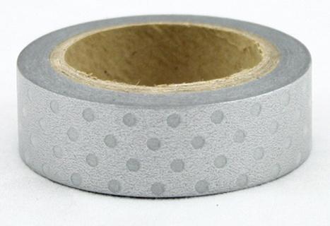 Dekorační lepicí páska - WASHI páska-1ks bílé puntíky ve stříbrné