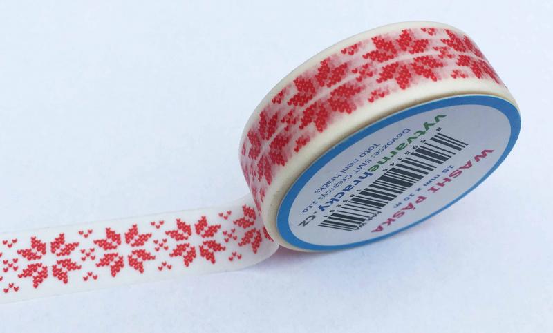 Dekorační lepicí páska - WASHI páska-1ks norský vzor červená v bílé