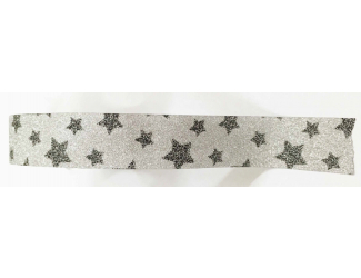 Dekorační lepicí páska glitrová - WASHI tape - stříbrné hvězdy ve stříbře