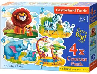Puzzle sada 4v1-Africká zvířátka-4,5,6 a 7 dílků- pro nejmenší děti