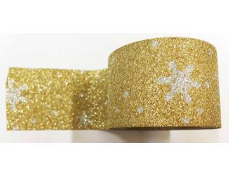 Dekorační lepicí páska glitrová - WASHI tape - stříbrné vločky ve zlaté