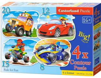 Puzzle sada 4v1- Zábavná jízda - sada 8,12,15 a20 dílků(4201)