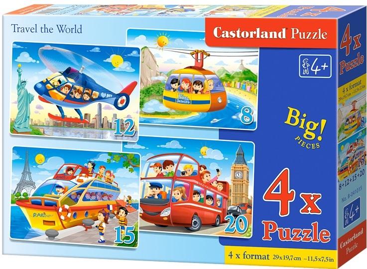 Puzzle Castorland sada 4v1 - Cestování po světě - sada 8,12,15 a20 dílků(4201)