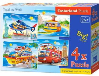 Puzzle sada 4v1- Cestování po světě - sada 8,12,15 a20 dílků(4201)