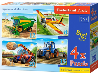 Puzzle Castorland sada 4v1 - Zemědělské stroje - 8,12,15,20 dílků