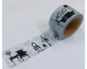 Dekorační lepicí páska - WASHI pásky -1ks židle v modrém
