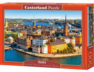 Puzzle 500 dílků- Staré Město ve Stockholmu, Švédsko