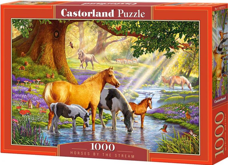 Puzzle Castorland 1000 dílků - Koně v říčce