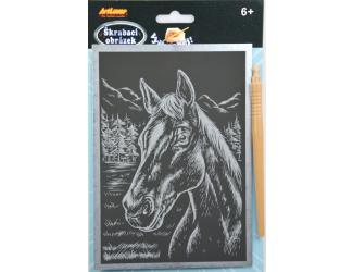 Škrabací obrázek - stříbrný A5 - kůň