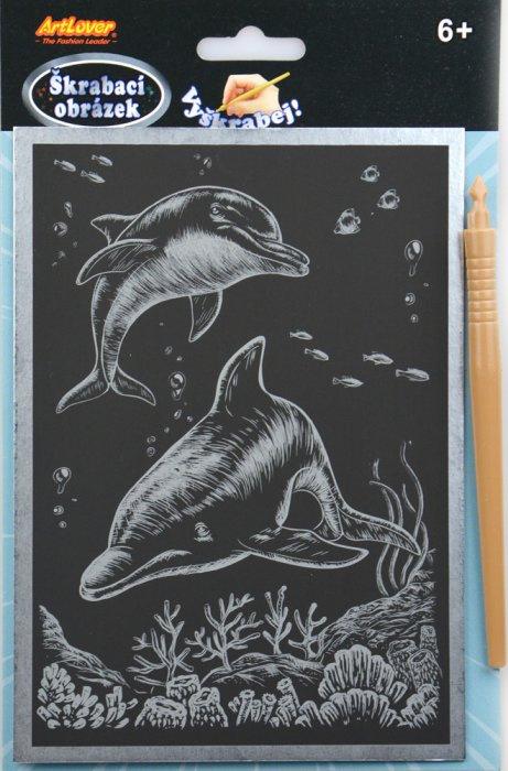 Škrabací obrázek - stříbrný A5 - delfíni