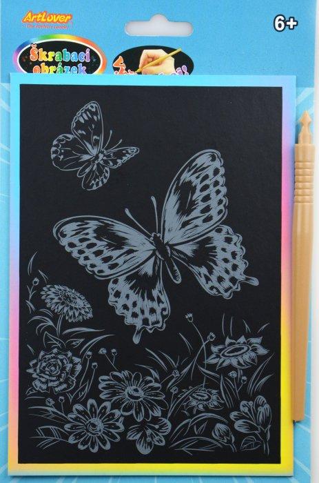 Škrabací obrázek - duhový A5 - motýl
