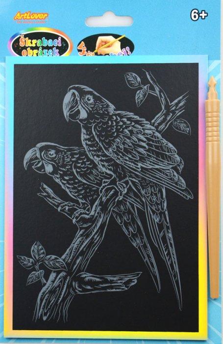 Škrabací obrázek - duhový A5 - papoušek