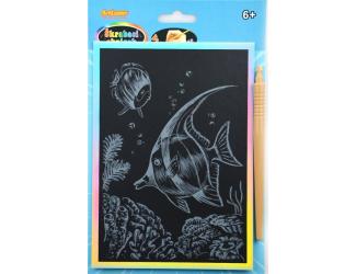 Škrabací obrázek - duhový A5 - ryba