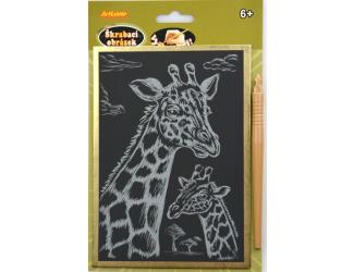 Škrabací obrázek - zlatý A5 - žirafa