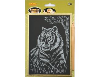 Vyškrabovací obrázek - zlatý A5 - tygr