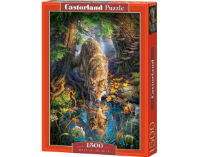 Puzzle Castorland 1500 dílků - Pijící vlk v divočině