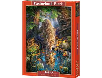 Puzzle 1500 dílků- Pijící vlk v divočině