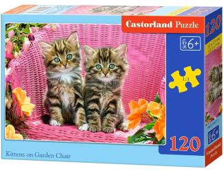 Puzzle 120 dílků - Koťátka na zahradním křesle