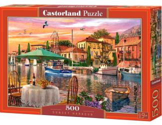 Puzzle 500 dílků- Západ slunce nad přístavem