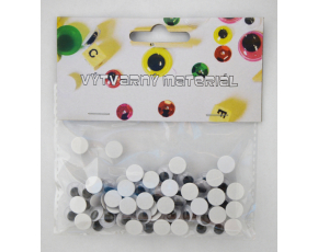 Černobílé pohyblivé oči samolepicí, 10 mm, 72 ks
