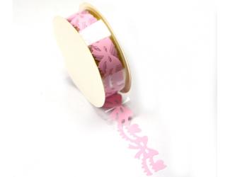 Samolepicí krajka - růžové mašličky 1,8 cm x 1 m