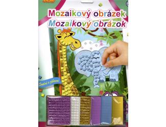 Mozaikový obrázek - Žirafa, slon a hrošík