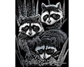 Škrabací obrázek stříbrný - Mývalové