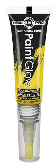 """Barvy na obličej UV neon PRO se štětečkem 13 ml - žlutá """"UV yellow"""""""