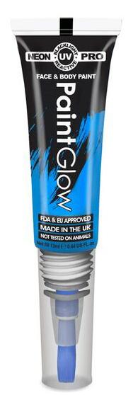 """Barvy na obličej UV neon PRO se štětečkem 13 ml - modrá """"UV blue"""""""