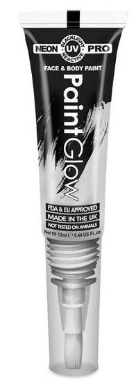 """Barvy na obličej UV neon PRO se štětečkem 13 ml - bílá """"UV white"""""""