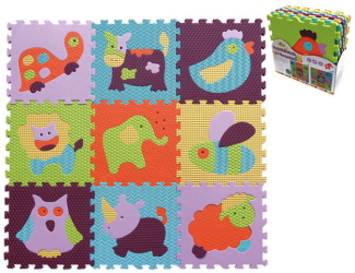 Pěnové puzzle 9 ks 30x30x1cm, zvířata