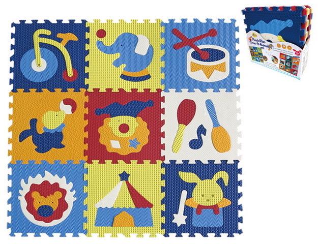 Pěnové puzzle 9 ks 30x30x1cm, cirkus