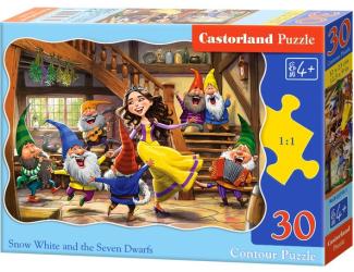 Puzzle 30 dílků - Tančící Sněhurka a sedm trpaslíků