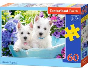 Puzzle Castorland 60 dílků - Bílá štěňátka