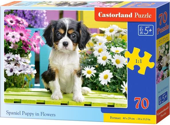Puzzle Castorland 70 dílků premium - Kavalír Španěl v květinách