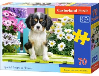 Puzzle 70 dílků premium - Kavalír Španěl v květinách