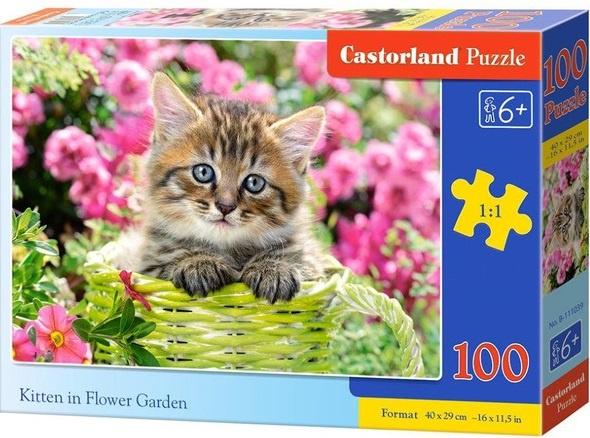 Puzzle Castorland 100 dílků premium - Kotě v zeleném košíku