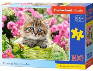 Puzzle 100 dílků premium - Kotě v zeleném košíku