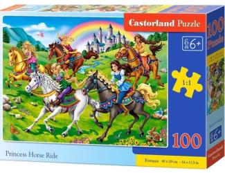 Puzzle 100 dílků premium - Závod princezen na koních