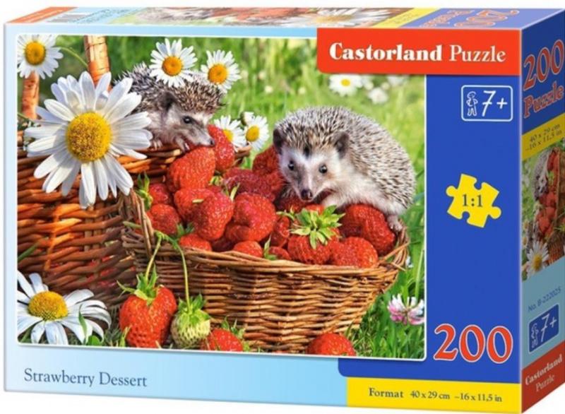 Puzzle Castorland 200 dílků premium - Ježci v jahodách