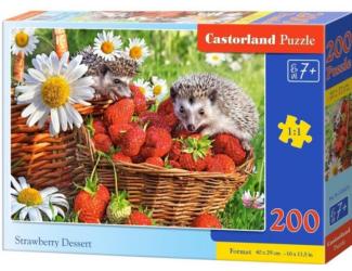 Puzzle 200 dílků premium - Ježci v jahodách