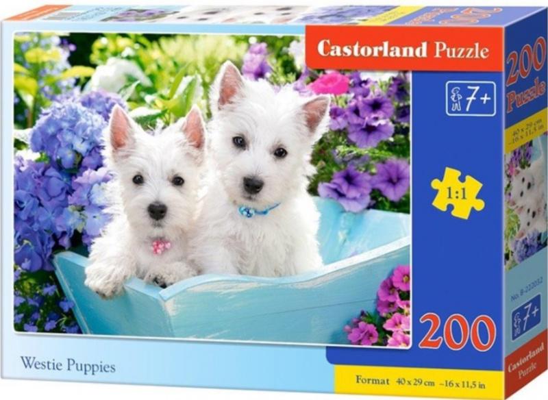 Puzzle Castorland 200 dílků premium - Bílá štěňátka