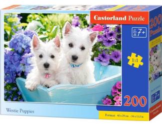 Puzzle 200 dílků premium - Bílá štěňátka