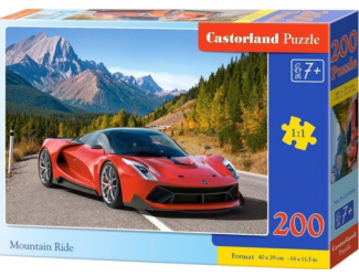Puzzle 200 dílků premium - Červené auto v horách